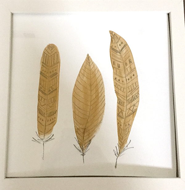 gold feathers home decor